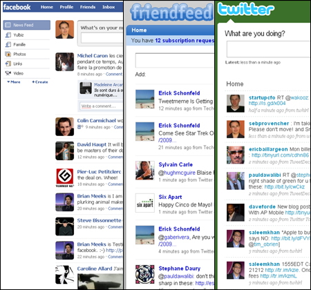 Twitter Facebook Friendfeed user interface identical
