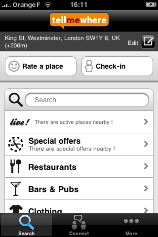 TellMeWhere iPhone Application Home