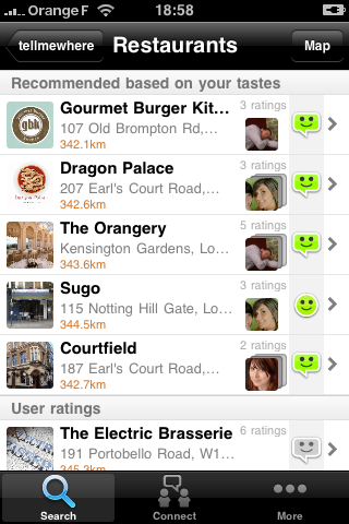 TellMeWhere iPhone Application recommendations