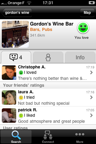 TellMeWhere iPhone Application Place Profile